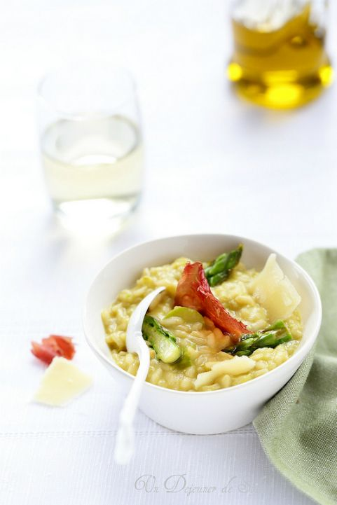Risotto aux asperges parmesan et bresaola croustillante