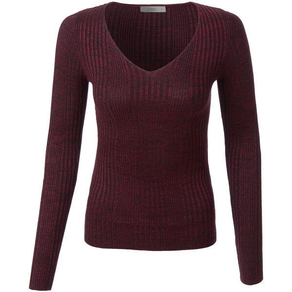 LE3NO Womens Soft Slim Fit Marled Ribbed Knit Sweater Top ($17) ❤ liked on Polyvore featuring tops, sweaters, slim sweaters, layered tops, purple sweater, marled sweater and slim fit sweaters