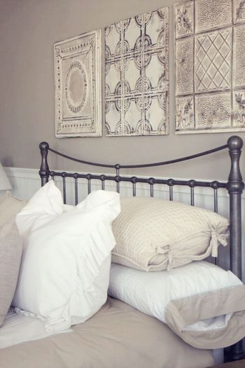 Tin panels above bed  They can also be decorative pieces on their own---love this look!!                                                                                                                                                                                 More