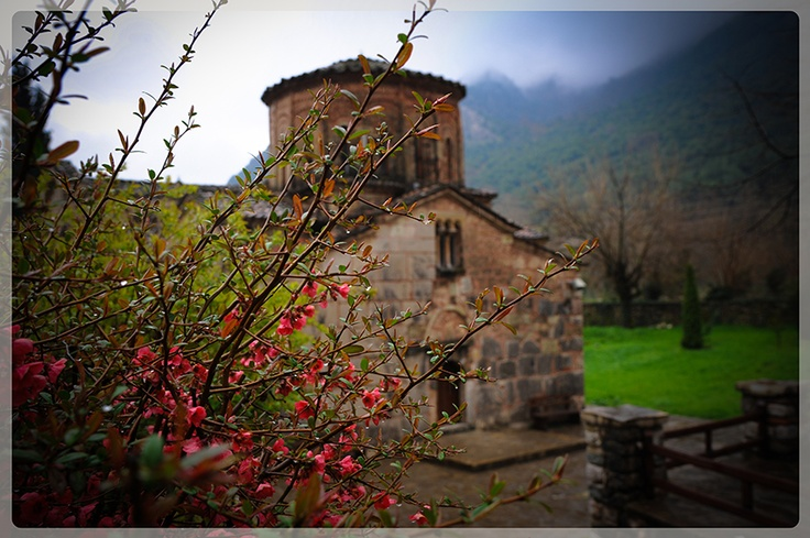 The outside of the Porta Panagia church, built in 1283 in the village Pili.