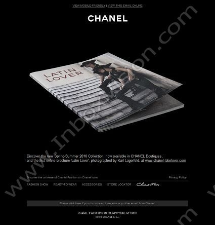 Company: Chanel Ltd.   Subject: Introducing the Spring-Summer 2010 Online Brochure         INBOXVISION, a global email gallery/database of 1.5 million B2C and B2B promotional email/newsletter templates, provides email design ideas and email marketing intelligence. www.inboxvision.c... #EmailMarketing  #DigitalMarketing  #EmailDesign  #EmailTemplate  #InboxVision  #SocialMedia  #EmailNewsletters