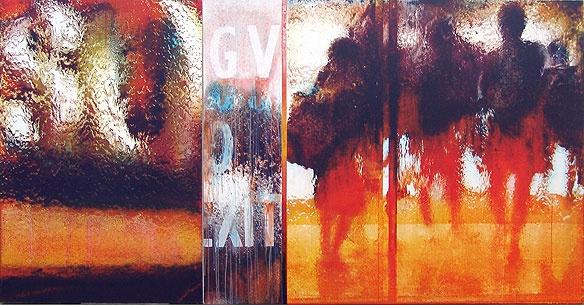Left: Robert Boynes, 'So' 2007, acrylic on canvas, 120 x 80cm Right: Robert Boynes, 'Exit' 2007, acrylic on canvas, 121 x 152cm