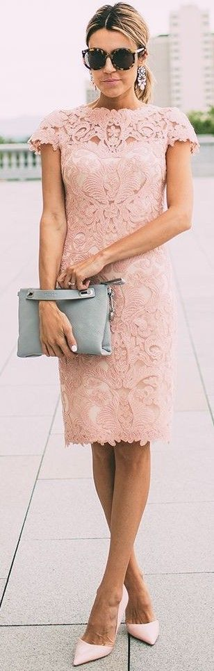 #summer #seaside #outfits   Nude Pink Lace Dress