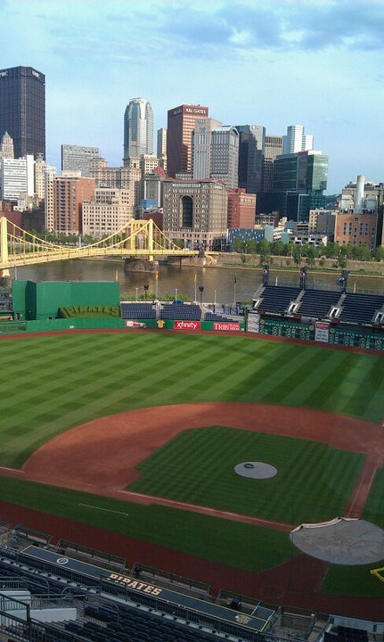 PNC Park Pittsburgh - very dramatic, walking across the bridge to get there with the sun beginning to set. Beautiful park.