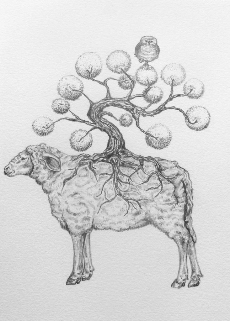 """""""Forest Sheep"""" drawing by Tara Tucker, which was the base for the sculpture.  Circa 2006.  From the artist's blog."""