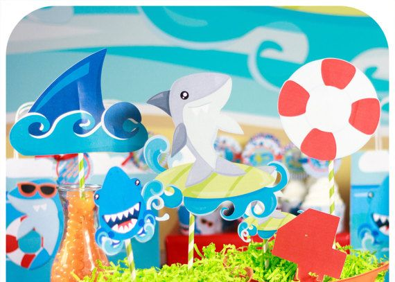 Shark Party; Shark Party; Shark Birthday Party; Shark Birthday; Birthday Party; Shark Centerpieces; PDF shark centerpieces:  Three Easy Steps! 1) Purchase! 2) Print! 3) Party!  This is perfect for the Shark lover in your family!  *This is a digital file!* ______________________________________________________________________________________________________________________  This listing includes the following items:  Center Pieces - Shark images in full, half, and quarter page sizes -1 full…