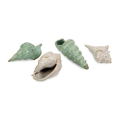 IMAX Ceramic Sea Shells Statue (Set of 4)Setconstruct Materials, Ceramics Shells, Sea Green, Coastal Decor, Sets, Sea Shells Collection, Seashells, White Ceramics, Ceramics Sea