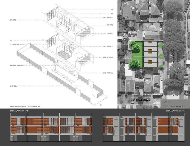 Projeto para casas em série (sobrados geminados). Esquema do projeto, elevações e implantação no terreno.
