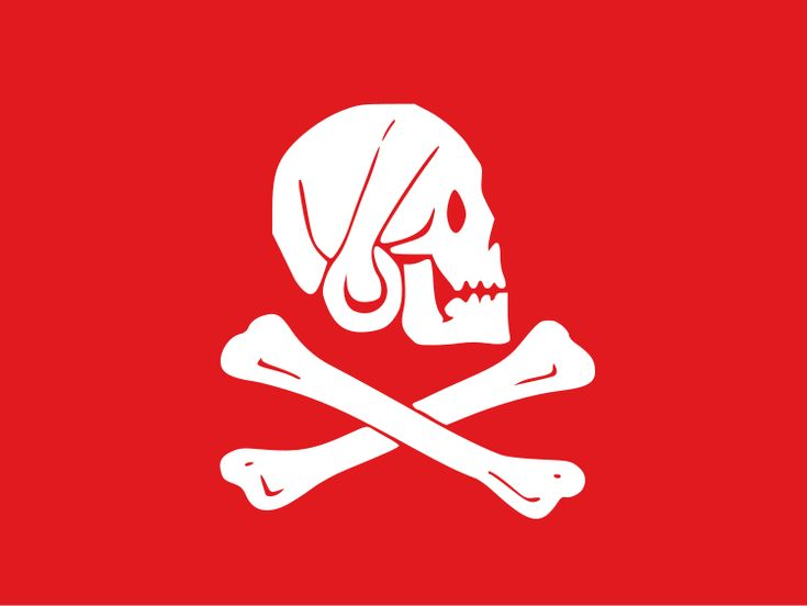 Popular version of Henry Every's Jolly Roger. Reportedly, Every also flew a version with a black background