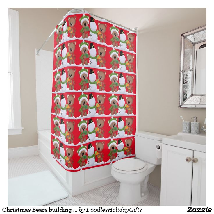 Shop Christmas Bears Building Snowman Shower Curtain Created By DoodlesHolidayGifts