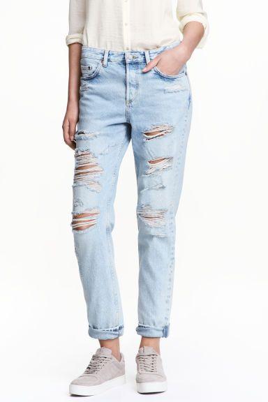 Boyfriend Low Ripped Jeans - Jasny denim - ONA | H&M PL 1