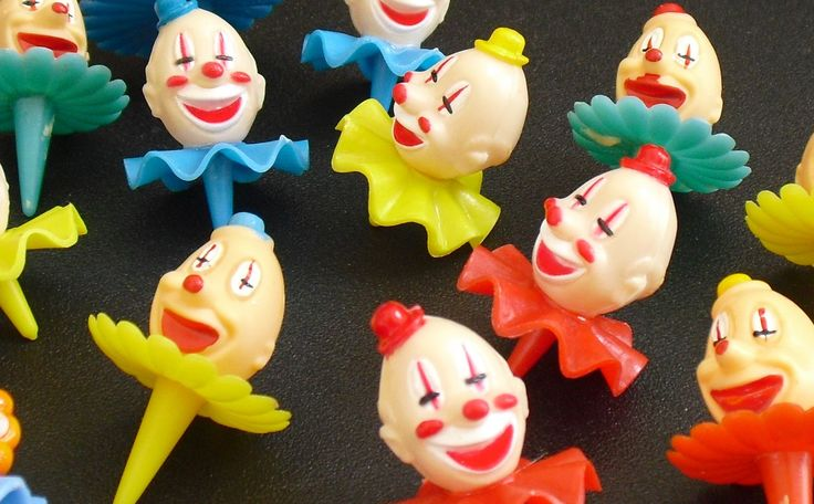 Vintage Clown Cake Topper Decoration, Variety Pack, 12 Small 1 Large Plastic Clowns, Birthday Party Favors, Cup Cake Place Holder, Set of 13 by AgsVintageCove on Etsy