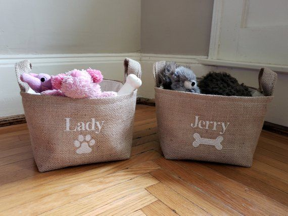 Personalized Dog Toy Basket Storage Holder Box Bin