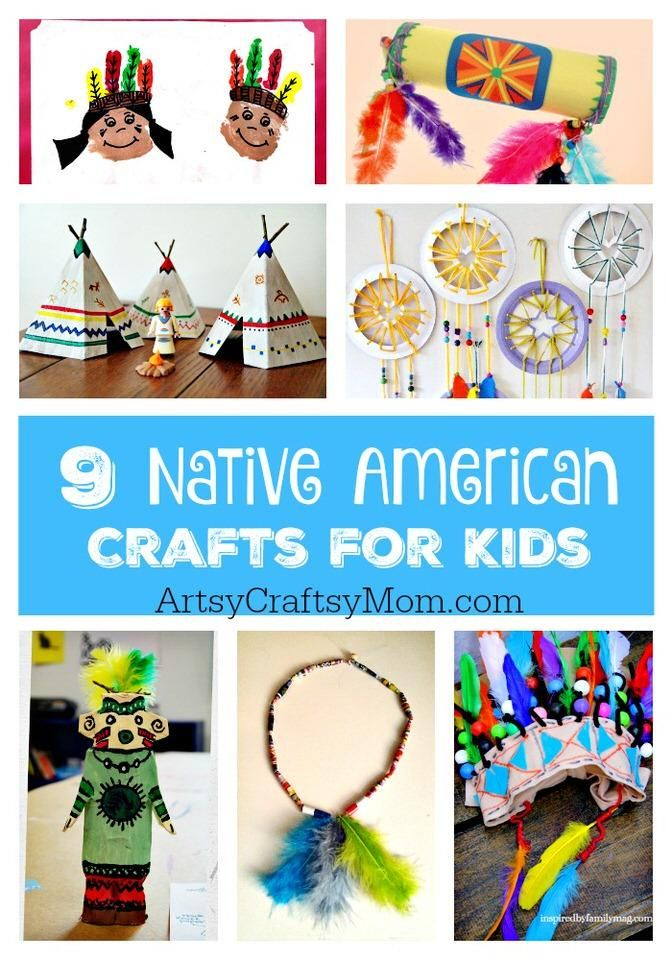 9 Native American Crafts for Kids. Kindergarten, preschool and elementary school crafts. Teepee, kachina dolls, headdress, rainstick, totem poles and more
