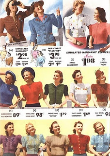 1940s sweaters. Puffed sleeves are IN!