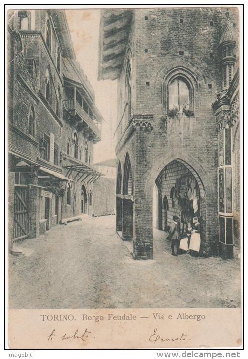 TORINO BORGO FEUDALE VIA E ALBERGO ANIMATA INIZI 1900