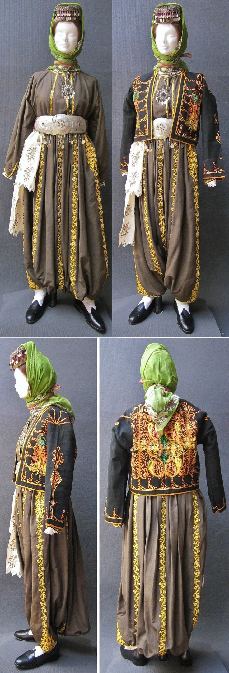A traditional festive costume from the Niğde province.  Late 19th / early 20th century.  In the upper left picture: the brown silk ensemble (trousers and shirt), without the 'cepken' (outer vest); the meagre decoration of the shirt indicates that a long-sleeved jacket was to be worn over it.  All accessories (headgear, necklace, belt buckle, embroidered sash) are from the same period (ca. 1900).  (Kavak Costume Collection - Antwerpen/Belgium).