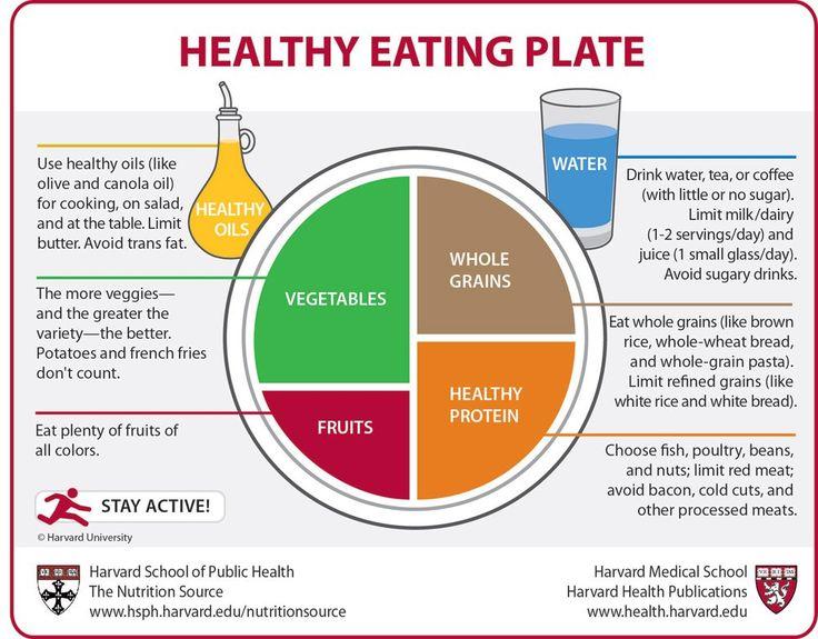 Source: Health Harvard University Verwendet The Healthy Eating Plateals eine kleine Anleitung für den Grundstock der gesunden Ernährung! Die Basis sollte immer Gemüse sein – 1/2 des Tellers – Je mehr verschiedene Farben vom Gemüse/verschiedene Gemüsesorten, desto mehr Nährwerte und Vitamine nehmt ihr zu euch! Verwendet Vollkorn – 1/4 des Tellers – Kohlenhydrate sind wichtig! Sie lieferen die nötige Energie! Nehmt Vollkornprodukte ('normaler' Reis/Nudeln sind nicht schlecht, aber Vollkorn…