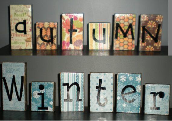 Autumn/Fall Winter Decorative Blocks Words by PrettiesByJenny, $15.00