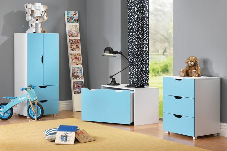 Perfect for any young chaps room - blue Flatpax Kids furniture. #kidsfurniture #kidsdrawers #kidsdesk #kidswardrobe