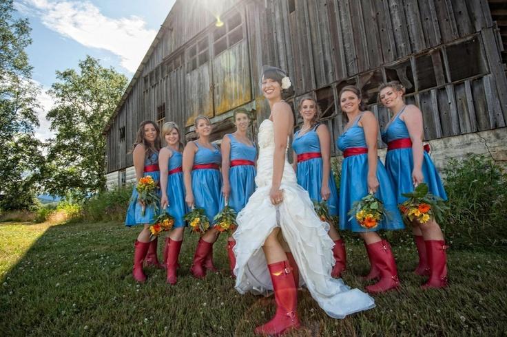 blue bridesmaid dress - red shoes - HUNTER rain boots Photographer: Phrozen Photo