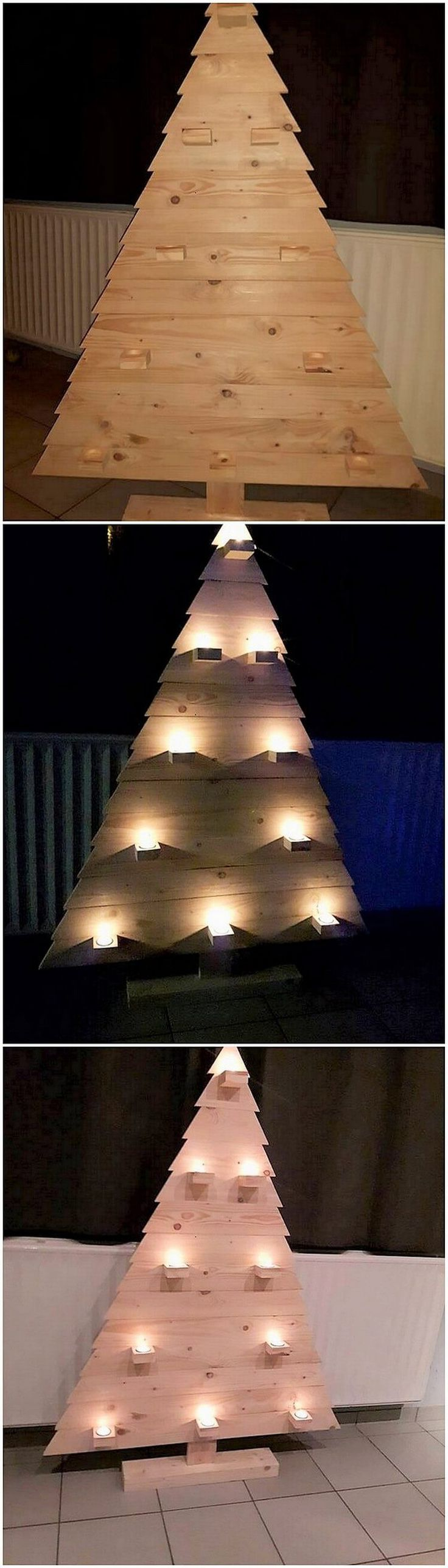 Covering up with some more interesting wood pallet ideas, let's introduce you with the awesome pallet Christmas tree design where the involvement of the lightning effect has been arranged with the awesome formation work. Rustic use of the wood pallet inside it makes it look so wonderful.