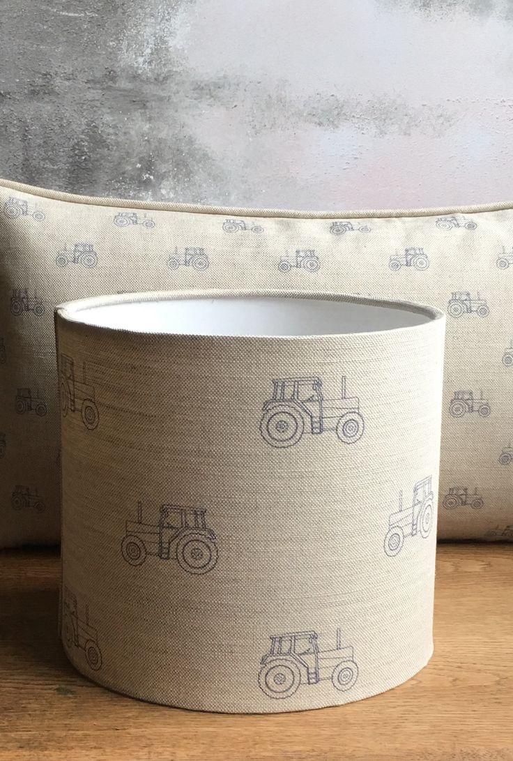 Beautiful handmade lampshades and cushions by Rascal & Roses perfect for little boys bedrooms or nurseries and bespoke colourways also available in this wonderful Flohr & Co tractor linen.