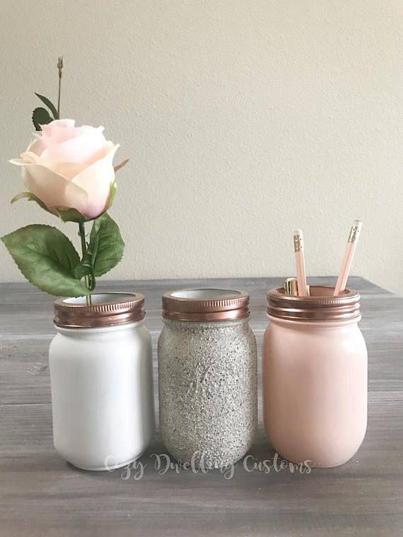 Kekse & Sahne, rosa Einmachglas, Marmor Schreibtischzubehör, Marmor Dekor, Make-up Pinselhalter, Teen ro