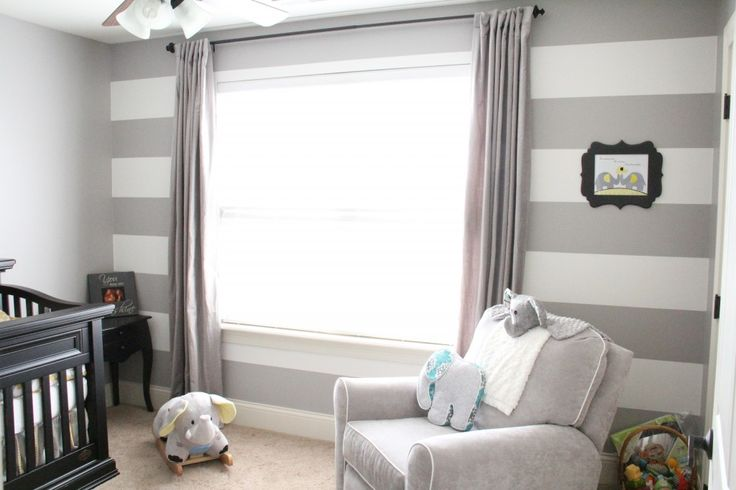 Gray is the ultimate nursery neutral - and we love the elephant accents in this #genderneutral #nursery!Teal Nurseries, Stripes Wall, Grey Stripes, Striped Walls, Baby, Gray Stripes, Gender Neutral Nurseries, White Stripes, Accent Walls