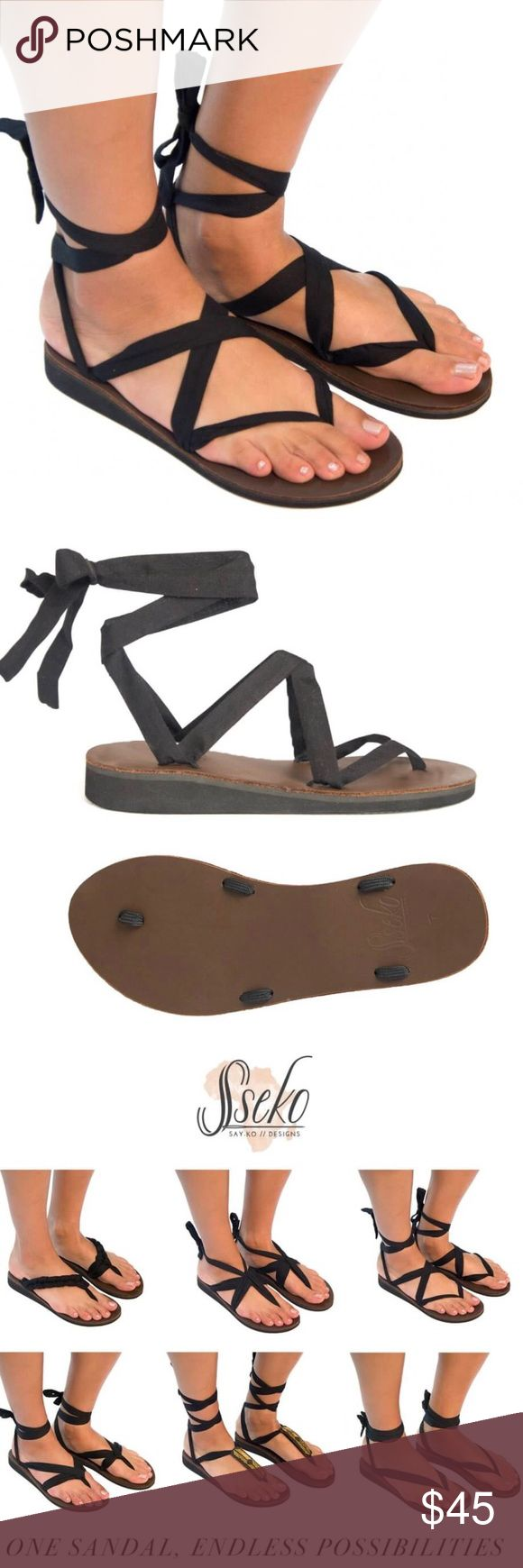 Brown Leather Ribbon Sandals Our Brown Leather Ribbon Sandals include our classic brown leather sandal base and black cotton ribbons that can be tied & styled in countless ways! Our brown leather sandal bases are perfect for warm-weather adventuring, and they're sure to pair nicely with any ensemble! Handcrafted from genuine leather, the sandal also features a rubber outsole and a layer of cushioning foam for all-day comfort. Tie the black ribbons in over 50 styles, or change your straps out…