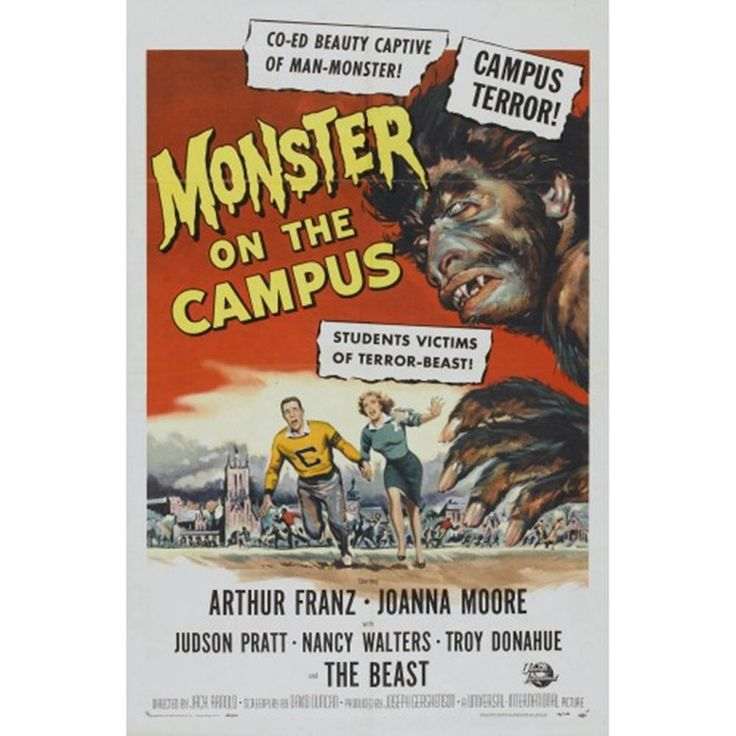 Monster On The Campus Poster - Vintage Horror Movie  Poster - Werewolf, Man-Wolf, Lycanthrope Campus Terror Film Print / Posters by graficaitalia on Etsy