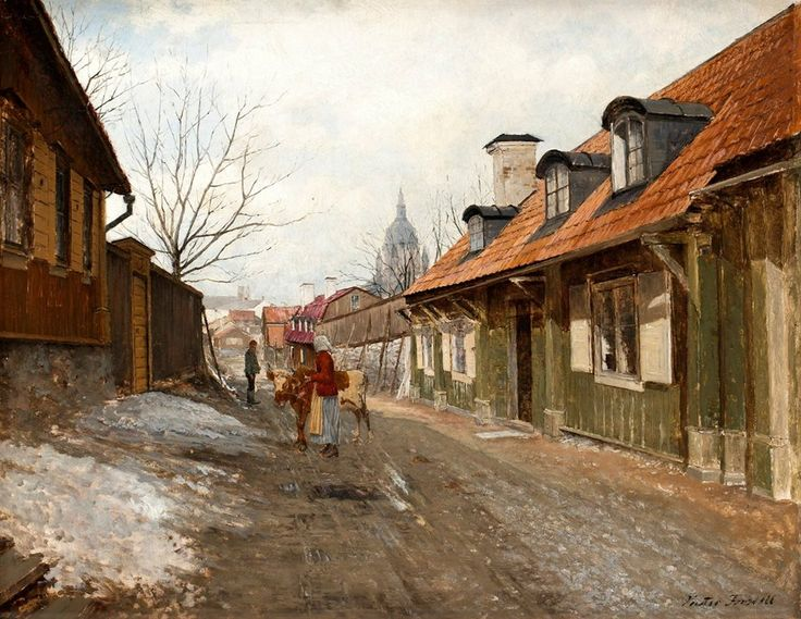 Swedish art Victor Forssell (Swedish painter) 1846 - 1931 Från Stigbergsgatan, Stockholm, 1890