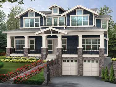 Craftsman house plans and craftsman homes on pinterest - House plans with garage below ...