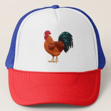 Rhode Island Red Rooster Crowing Trucker Hat - baby gifts child new born gift idea diy cyo special unique design