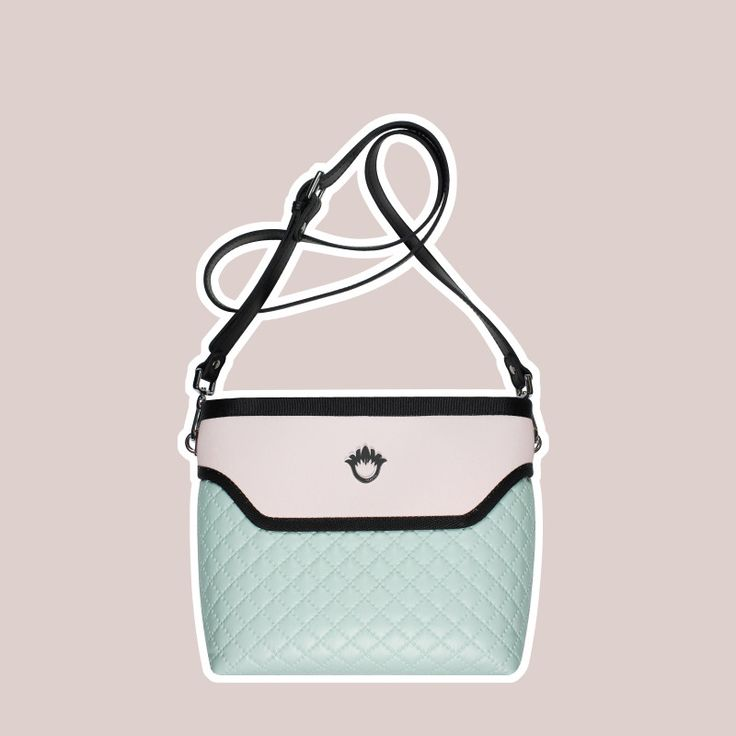 GOSHICO, ss2015, Flowerbag (cross body bag), pastel mint + pink. To download high or low resolution photos view Mondrianista.com (editorial use only).