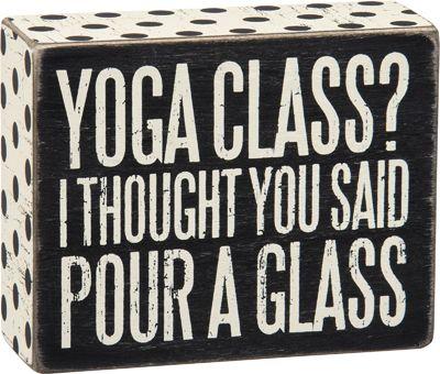 Item # 27235 | Box Sign - Pour a Glass | Primitives by Kathy
