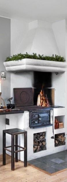 Scandinavian kitchen stove. I want one!! How cool would this be if the power went out or in a cabin off the grid?!!