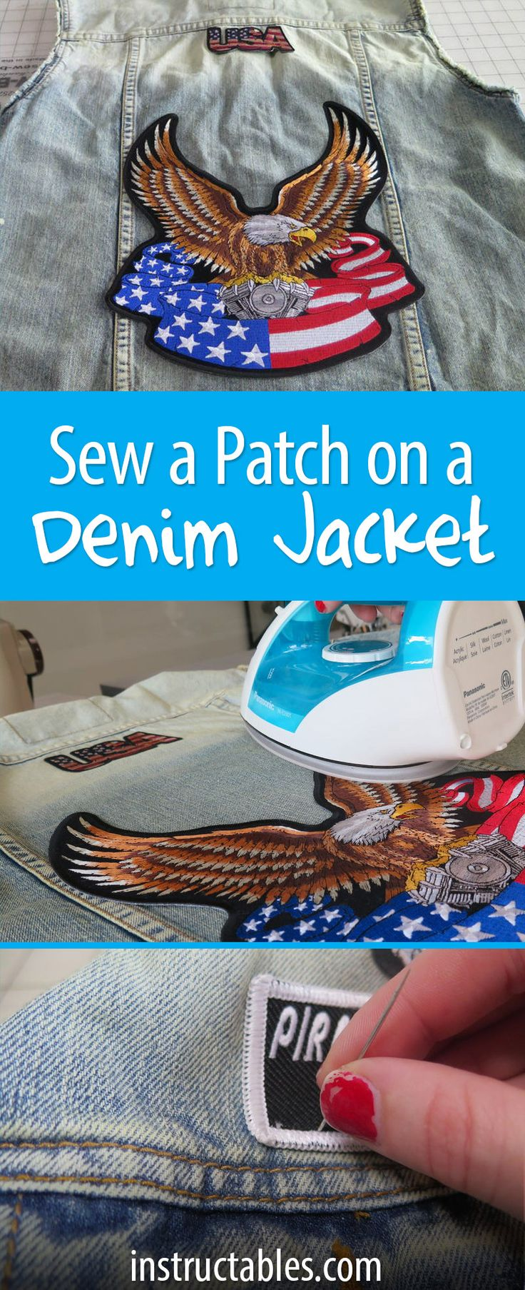 Learn to easily sew a patch on a jacket, pants, or any fabric. This covers both sew-on and iron-on patches. Bookmark it!