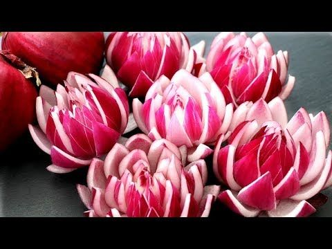 How To Make Red Onion Lotus Flowers - Vegetable Carving Garnish - Food A...