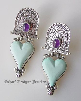 Blue Moon Turquoise & Amethyst heart earrings by David Troutman