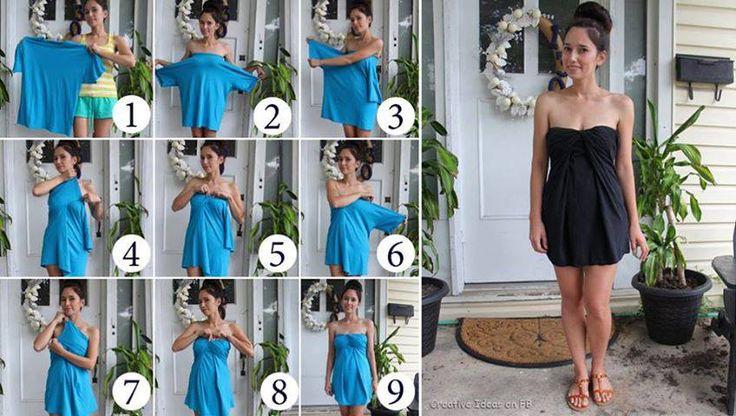 From a large t-shirt to a sexy dress diy Da una maglia larga a un vestitino fai da te, faidate