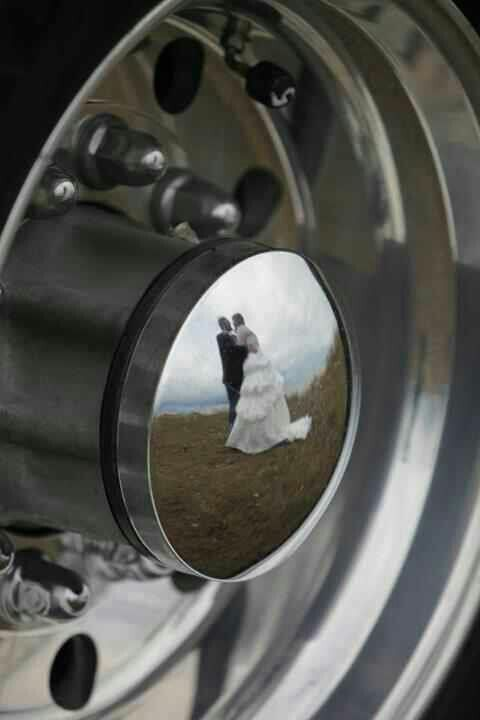 Semi wheel wedding picture
