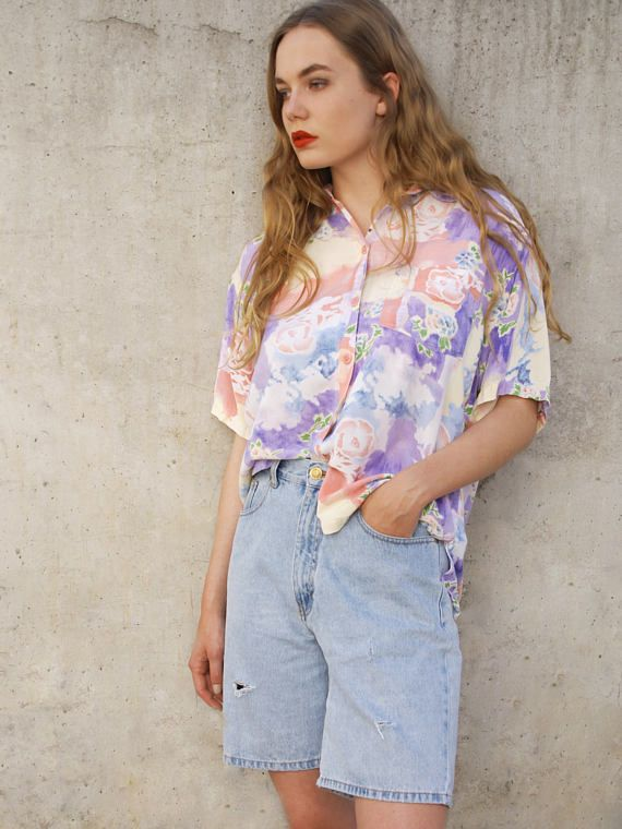 Vintage 90er Kurzarm Hemd Gr.S