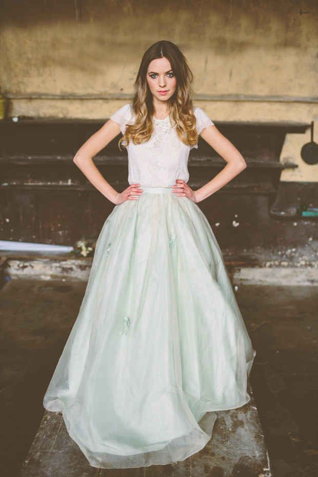 This Full Skirt with a Hint of Blue | 36 Ultra-Glamorous Two-Piece Wedding Dresses