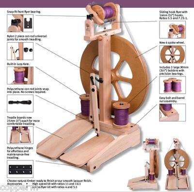 Ashford Kiwi 2 Unfinished Spinning Wheel 1 lb Fiber Spinning DVD Free SHIP | eBay