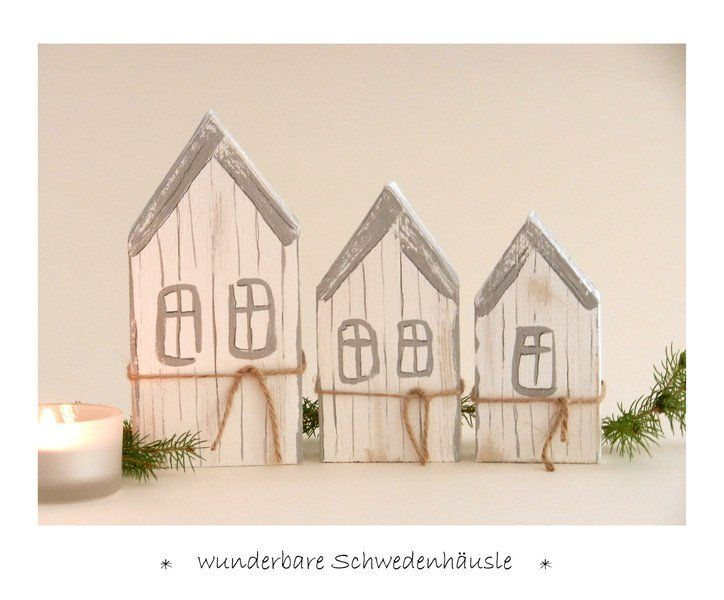 3 schweden h uschen holz winterdeko herbstdeko. Black Bedroom Furniture Sets. Home Design Ideas