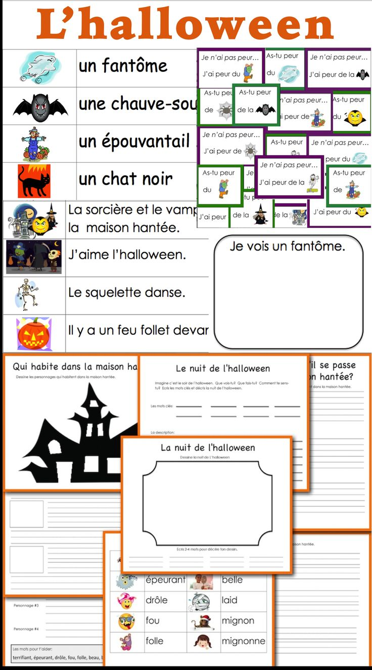 17 best images about french halloween vocabulary halloween a game to play sentences to and illustrate and a story to