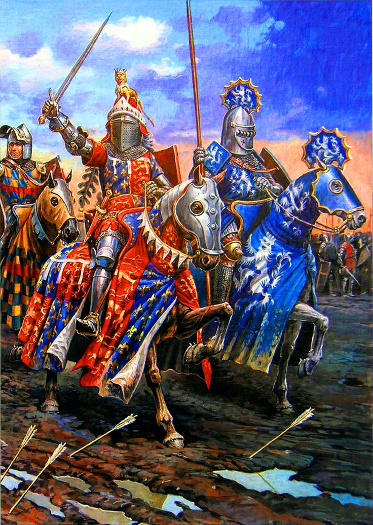 King Henry V leading the English Knights at Agincourt, Hundred Years War