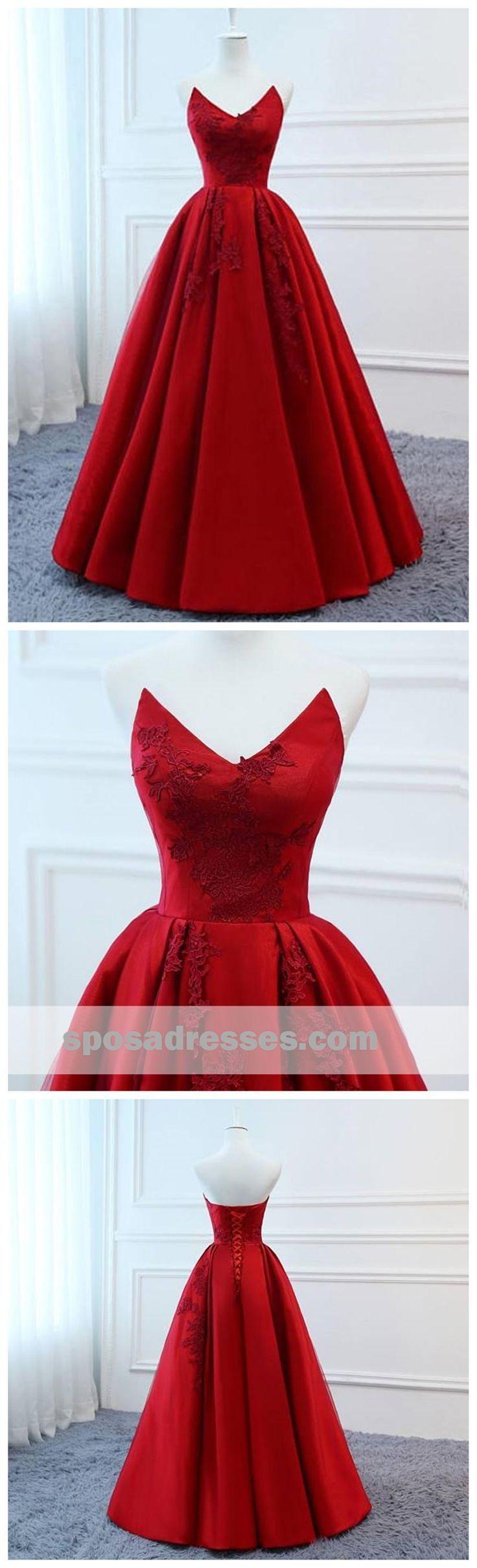 2018 Red V Neck A-line Custom Long Evening Prom Dresses, 17717