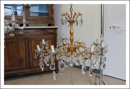 Lampadario anni 40 in gocce di cristallo corpo in metallo dorato! Antico